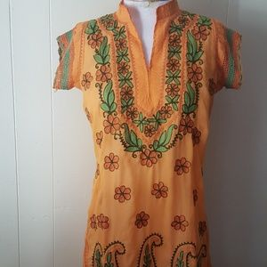 True Vintage orange embroidered small tunic